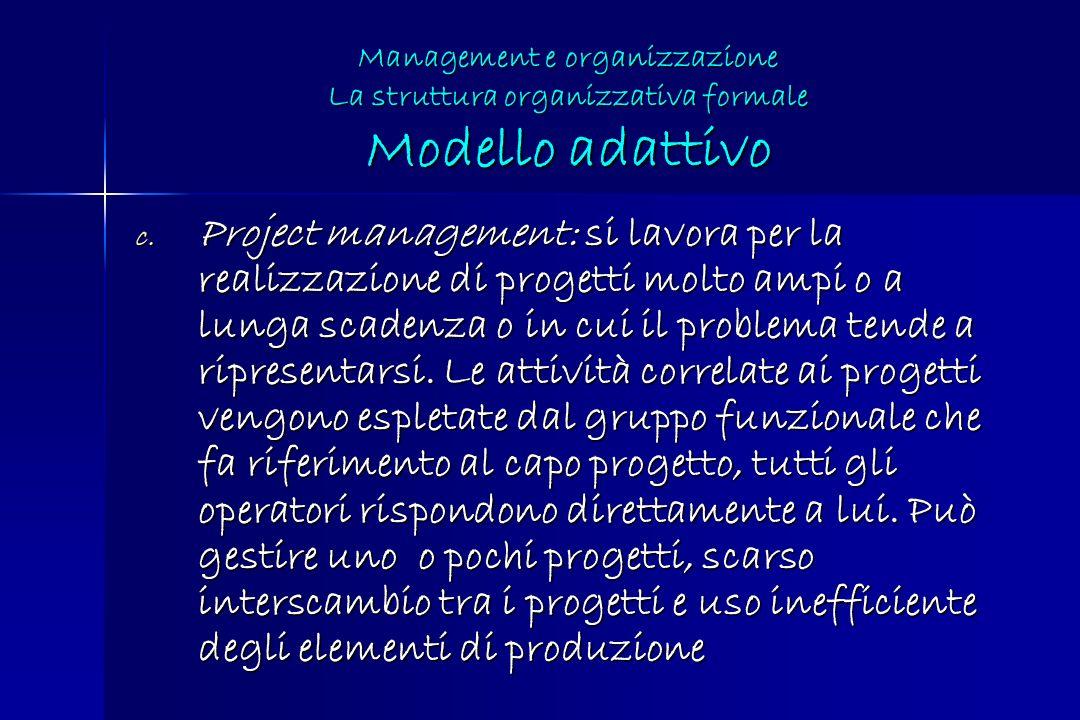 c. Project management: si lavora per la realizzazione di progetti molto ampi o a lunga scadenza o in cui il problema tende a ripresentarsi. Le attivit