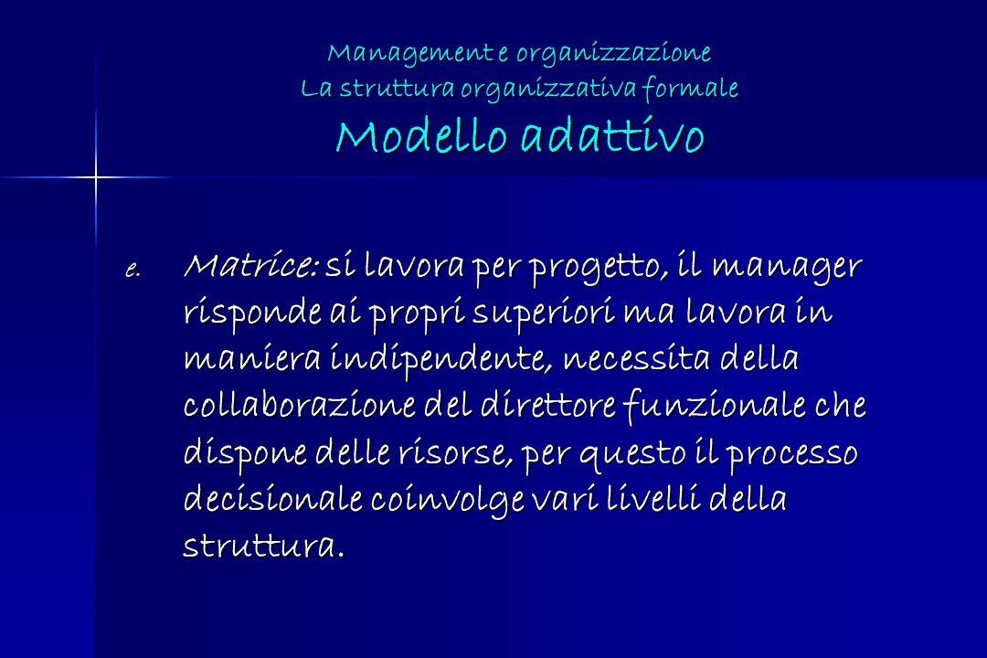 e. Matrice: si lavora per progetto, il manager risponde ai propri superiori ma lavora in maniera indipendente, necessita della collaborazione del dire