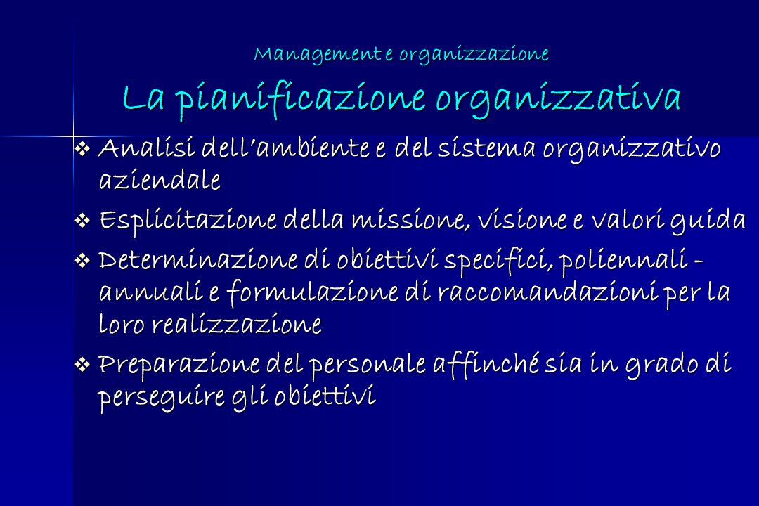 Management e organizzazione La pianificazione organizzativa Analisi dellambiente e del sistema organizzativo aziendale Analisi dellambiente e del sist