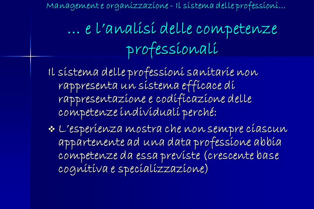 … e lanalisi delle competenze professionali Il sistema delle professioni sanitarie non rappresenta un sistema efficace di rappresentazione e codificaz