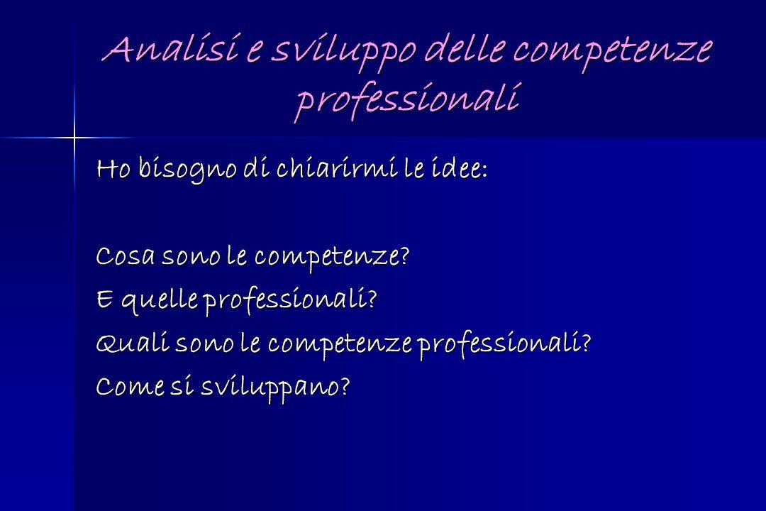 Analisi e sviluppo delle competenze professionali Ho bisogno di chiarirmi le idee: Cosa sono le competenze? E quelle professionali? Quali sono le comp