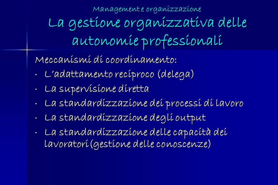 Management e organizzazione La gestione organizzativa delle autonomie professionali Meccanismi di coordinamento: Ladattamento reciproco (delega) Ladat