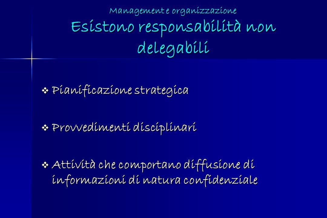 Management e organizzazione Esistono responsabilità non delegabili Pianificazione strategica Pianificazione strategica Provvedimenti disciplinari Prov