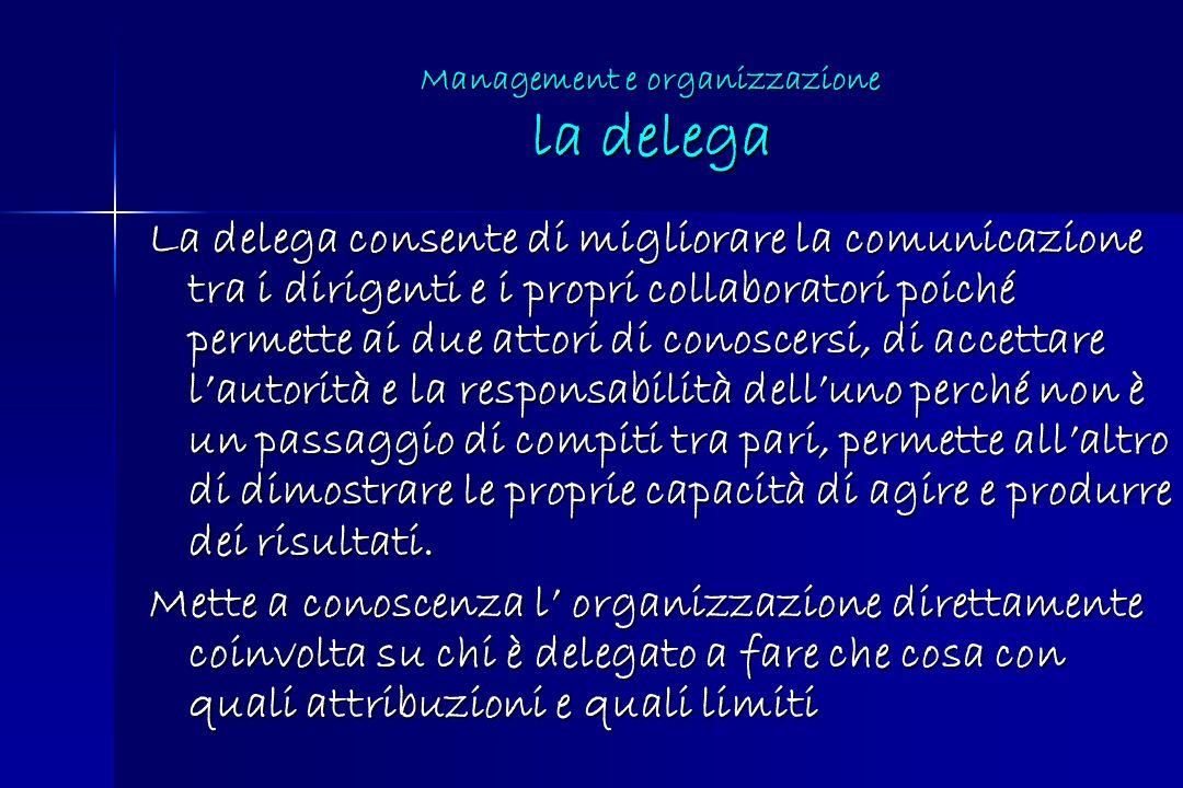 La delega consente di migliorare la comunicazione tra i dirigenti e i propri collaboratori poiché permette ai due attori di conoscersi, di accettare l