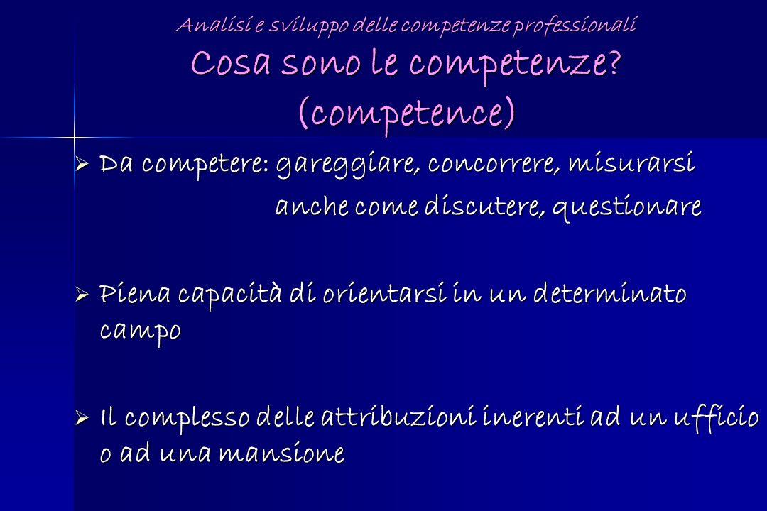 Analisi e sviluppo delle competenze professionali Cosa sono le competenze? (competence) Da competere: gareggiare, concorrere, misurarsi Da competere: