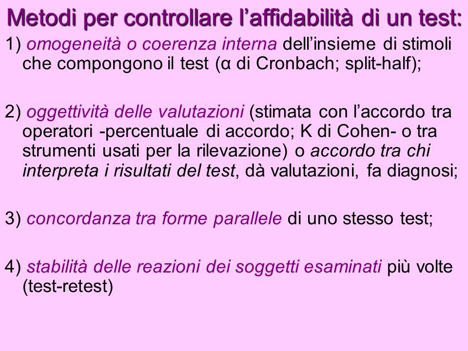 Metodi per controllare laffidabilità di un test: 1) omogeneità o coerenza interna dellinsieme di stimoli che compongono il test (α di Cronbach; split-