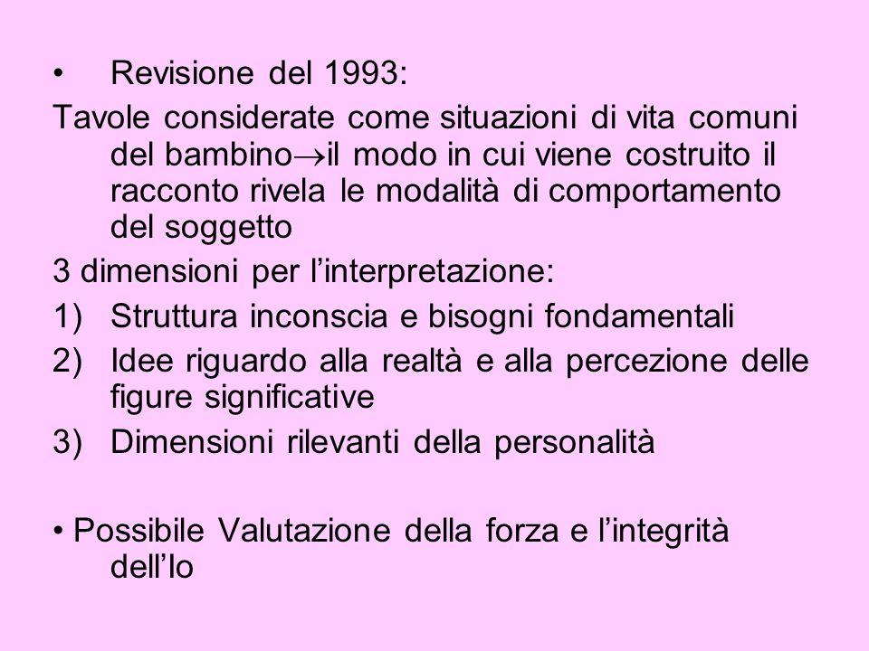 Revisione del 1993: Tavole considerate come situazioni di vita comuni del bambino il modo in cui viene costruito il racconto rivela le modalità di com