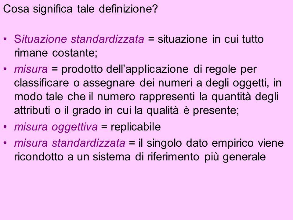 Cosa significa tale definizione? Situazione standardizzata = situazione in cui tutto rimane costante; misura = prodotto dellapplicazione di regole per