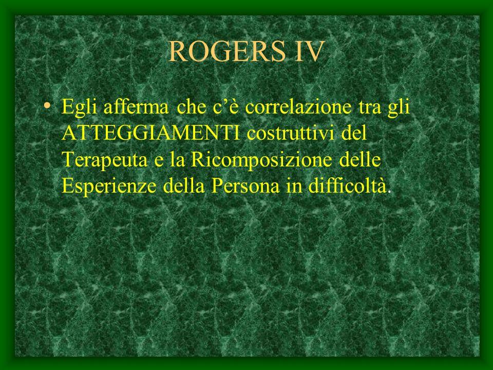 ROGERS III Egli mette a fuoco le disposizioni Personali del Terapeuta quali: LEMPATIA-. La GENUINITA- La CONCRETEZZA. Il RISPETTO RECIPROCO Queste son