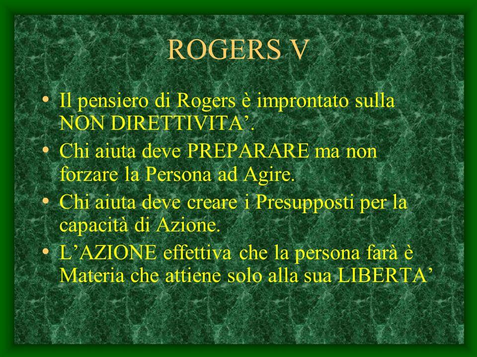 ROGERS IV Egli afferma che cè correlazione tra gli ATTEGGIAMENTI costruttivi del Terapeuta e la Ricomposizione delle Esperienze della Persona in diffi
