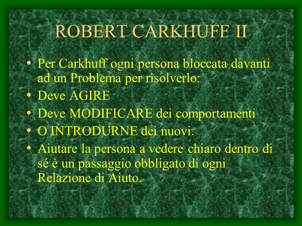 ROBERT CARKHUFF Questo autore va oltre il pensiero di Rogers e identifica nella relazione di aiuto tre fasi ordinate. AUTOESPLORAZIONE AUTOCOMPRENSION