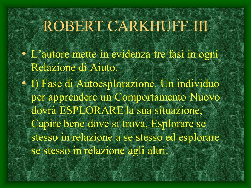ROBERT CARKHUFF II Per Carkhuff ogni persona bloccata davanti ad un Problema per risolverlo: Deve AGIRE Deve MODIFICARE dei comportamenti O INTRODURNE