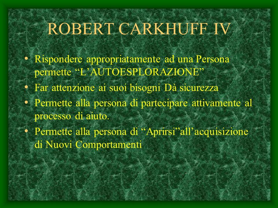 ROBERT CARKHUFF III Lautore mette in evidenza tre fasi in ogni Relazione di Aiuto. I) Fase di Autoesplorazione. Un individuo per apprendere un Comport