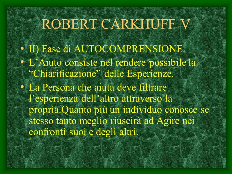 ROBERT CARKHUFF IV Rispondere appropriatamente ad una Persona permette LAUTOESPLORAZIONE Far attenzione ai suoi bisogni Dà sicurezza Permette alla per