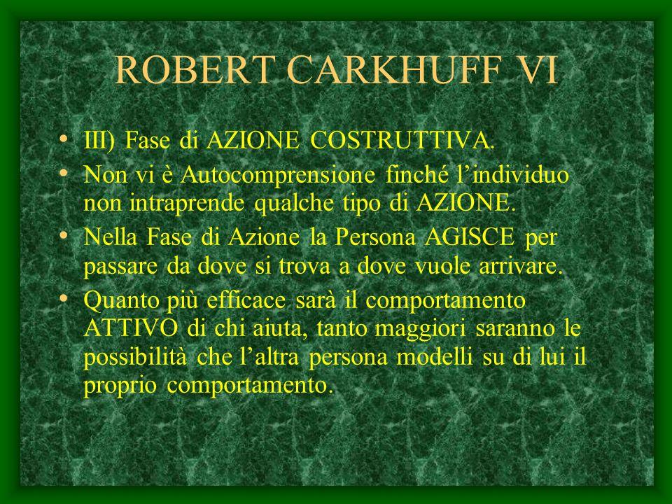 ROBERT CARKHUFF V II) Fase di AUTOCOMPRENSIONE. LAiuto consiste nel rendere possibile la Chiarificazione delle Esperienze. La Persona che aiuta deve f