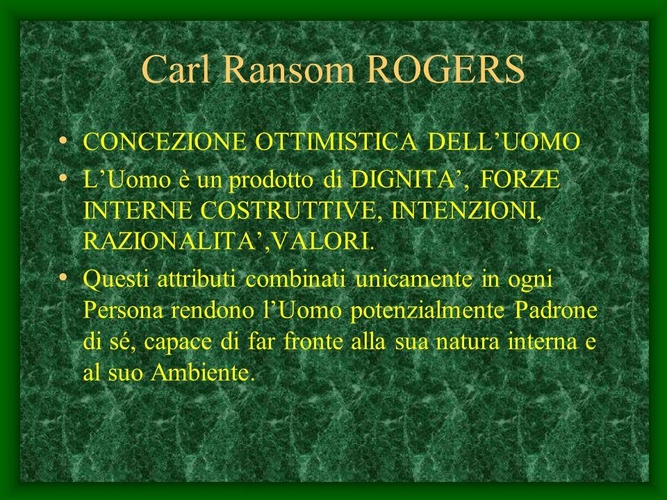 Carl Ransom Rogers Nacque ad Oak Park Illinois,8 gennaio 1902 Specializzato in psicologia clinica alla Columbia University.