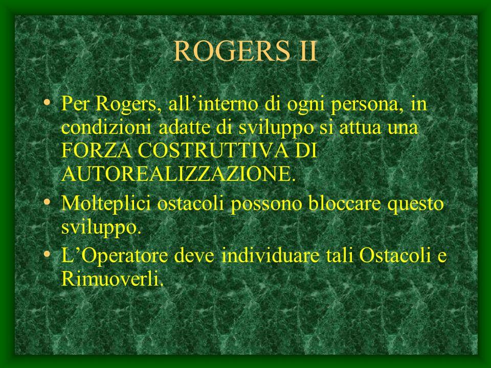 Carl Ransom ROGERS CONCEZIONE OTTIMISTICA DELLUOMO LUomo è un prodotto di DIGNITA, FORZE INTERNE COSTRUTTIVE, INTENZIONI, RAZIONALITA,VALORI. Questi a