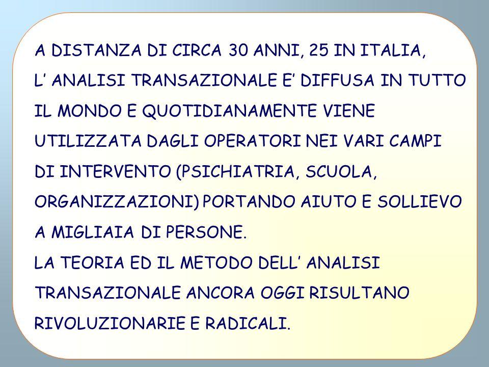 A DISTANZA DI CIRCA 30 ANNI, 25 IN ITALIA, L ANALISI TRANSAZIONALE E DIFFUSA IN TUTTO IL MONDO E QUOTIDIANAMENTE VIENE UTILIZZATA DAGLI OPERATORI NEI