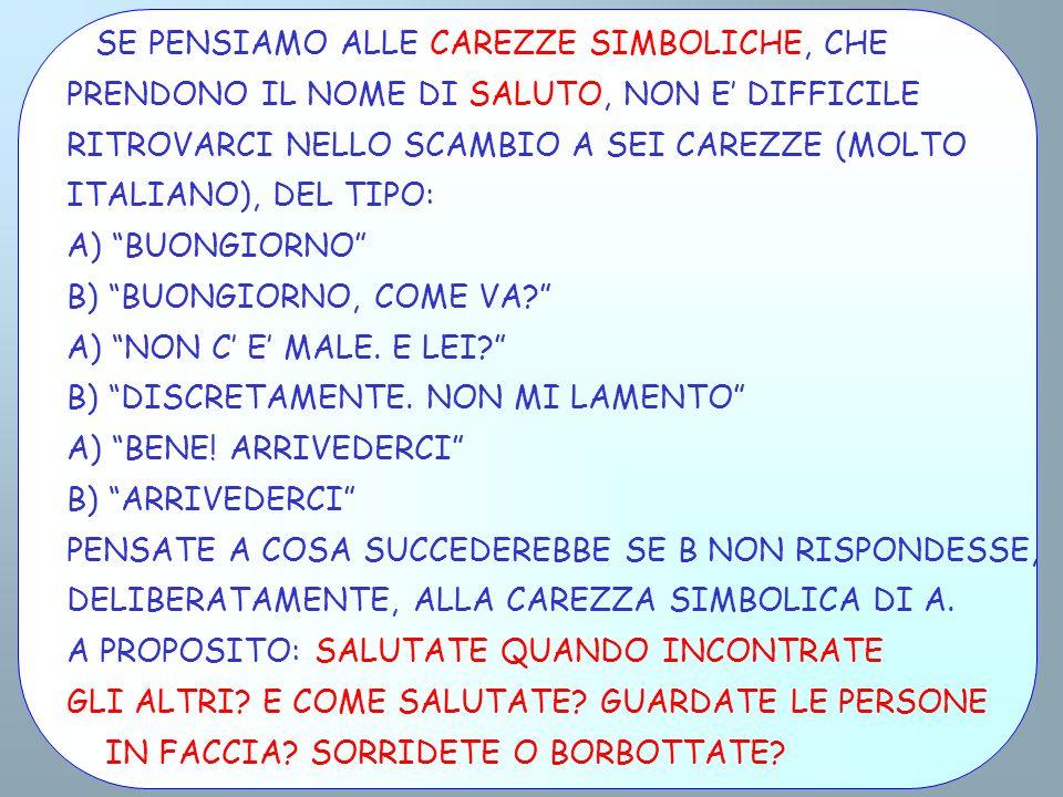SE PENSIAMO ALLE CAREZZE SIMBOLICHE, CHE PRENDONO IL NOME DI SALUTO, NON E DIFFICILE RITROVARCI NELLO SCAMBIO A SEI CAREZZE (MOLTO ITALIANO), DEL TIPO