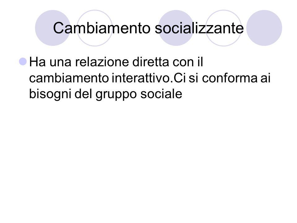 Cambiamento socializzante Ha una relazione diretta con il cambiamento interattivo.Ci si conforma ai bisogni del gruppo sociale