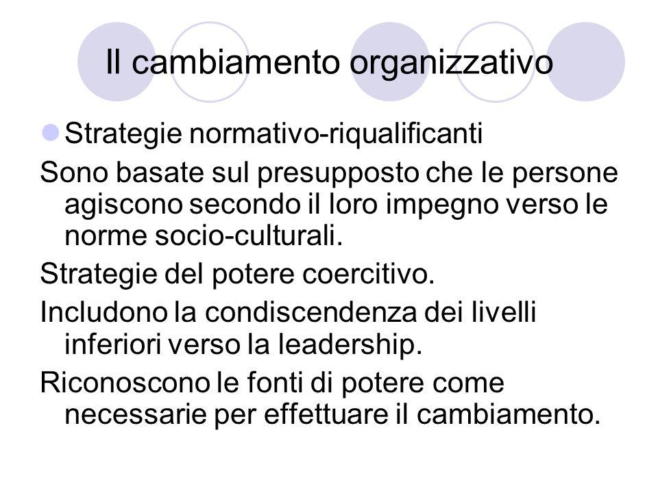 Il cambiamento organizzativo Strategie normativo-riqualificanti Sono basate sul presupposto che le persone agiscono secondo il loro impegno verso le n