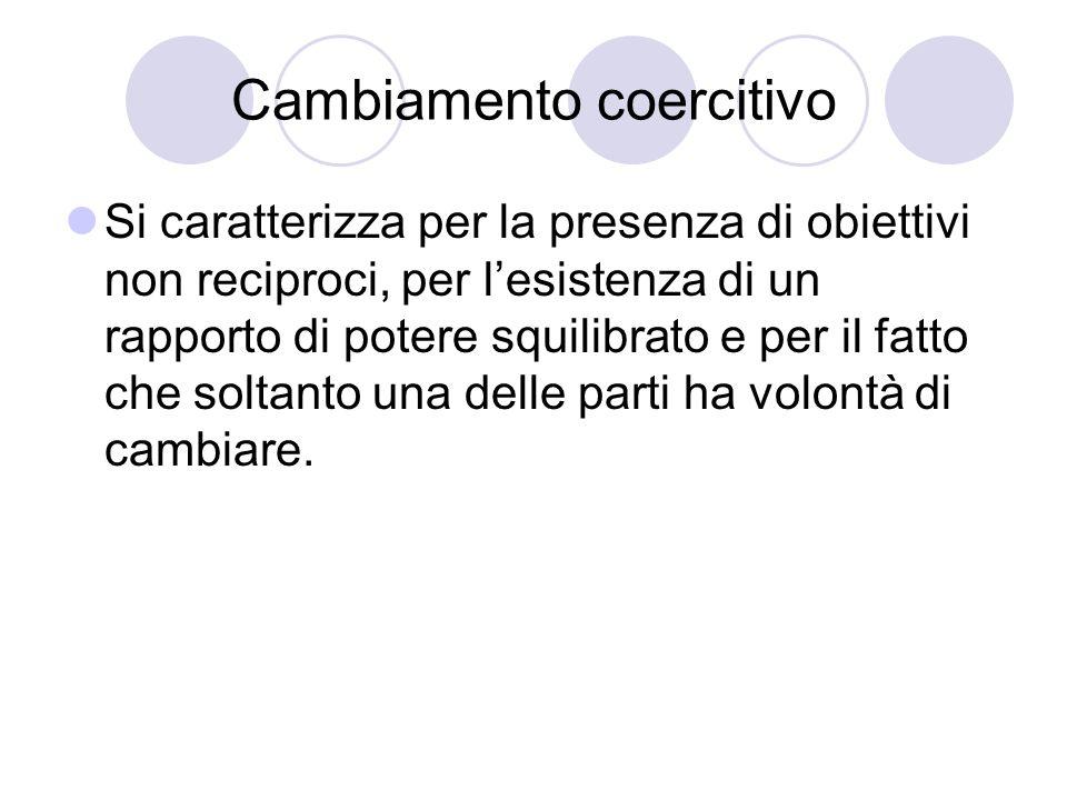 Cambiamento coercitivo Si caratterizza per la presenza di obiettivi non reciproci, per lesistenza di un rapporto di potere squilibrato e per il fatto