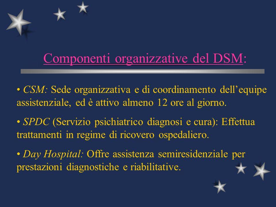 Componenti organizzative del DSM: CSM: Sede organizzativa e di coordinamento dellequipe assistenziale, ed è attivo almeno 12 ore al giorno. SPDC (Serv