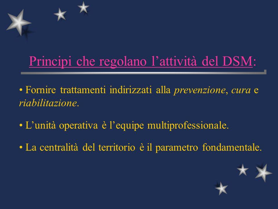 Principi che regolano lattività del DSM: Fornire trattamenti indirizzati alla prevenzione, cura e riabilitazione. Lunità operativa è lequipe multiprof