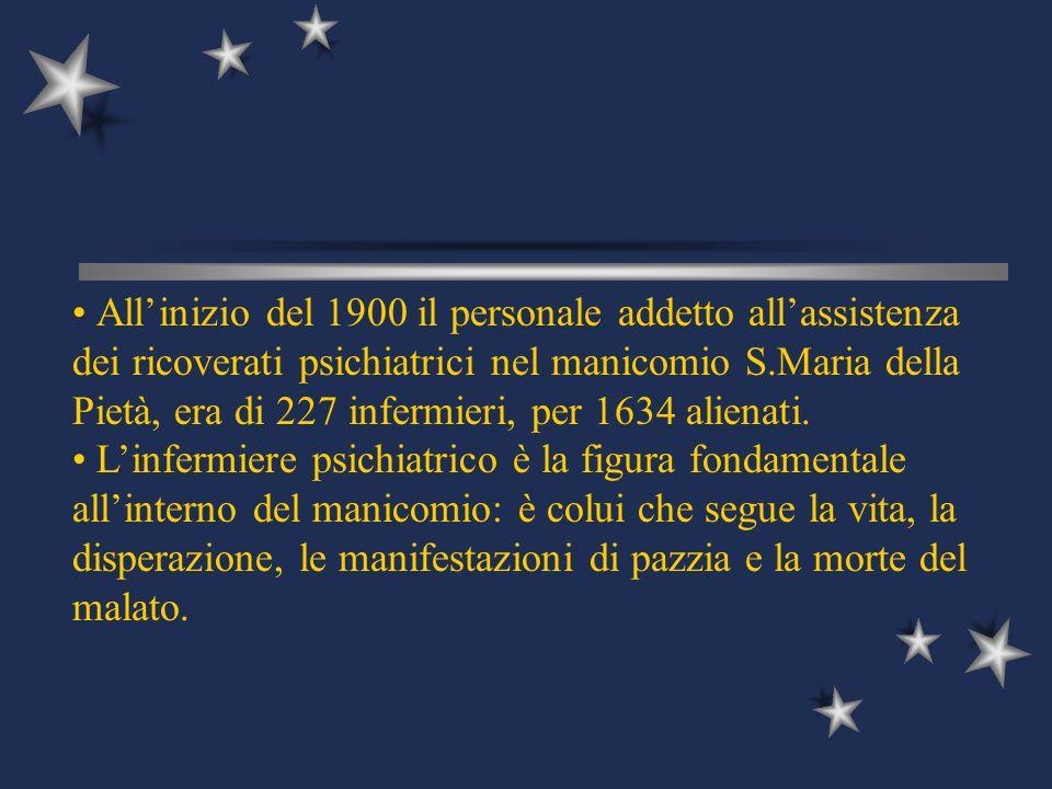Allinizio del 1900 il personale addetto allassistenza dei ricoverati psichiatrici nel manicomio S.Maria della Pietà, era di 227 infermieri, per 1634 a
