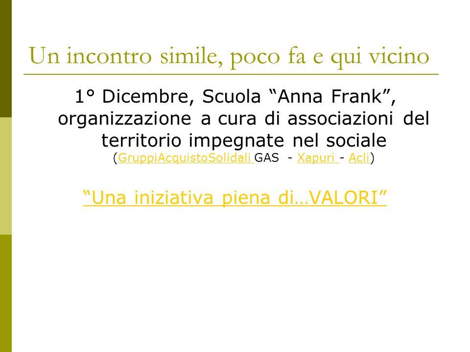 Un incontro simile, poco fa e qui vicino 1° Dicembre, Scuola Anna Frank, organizzazione a cura di associazioni del territorio impegnate nel sociale (G