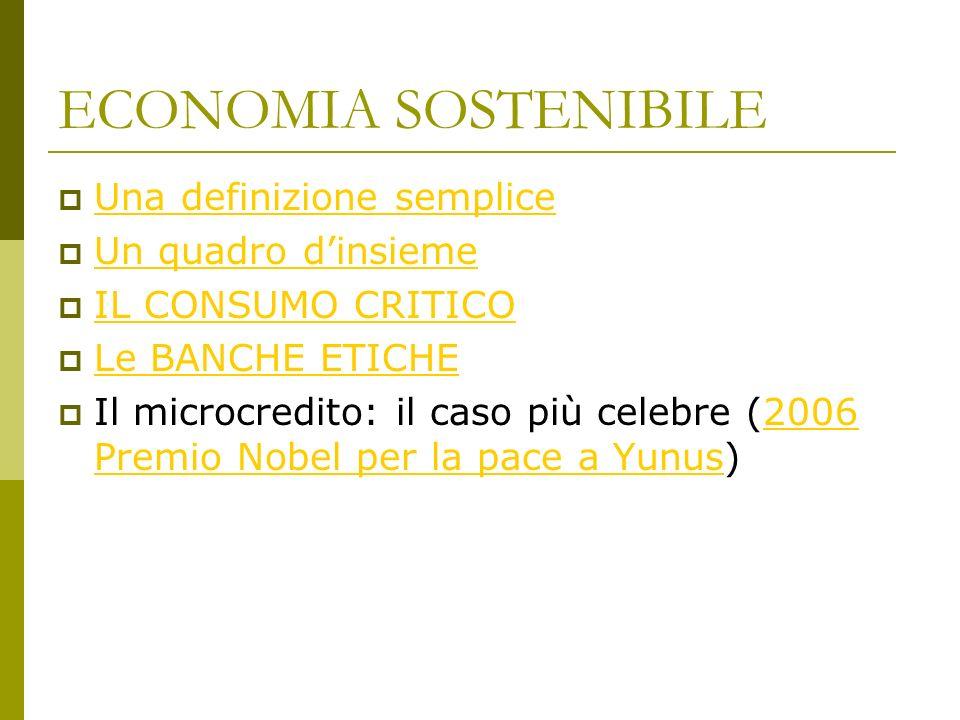 ECONOMIA SOSTENIBILE Una definizione semplice Un quadro dinsieme IL CONSUMO CRITICO Le BANCHE ETICHE Il microcredito: il caso più celebre (2006 Premio