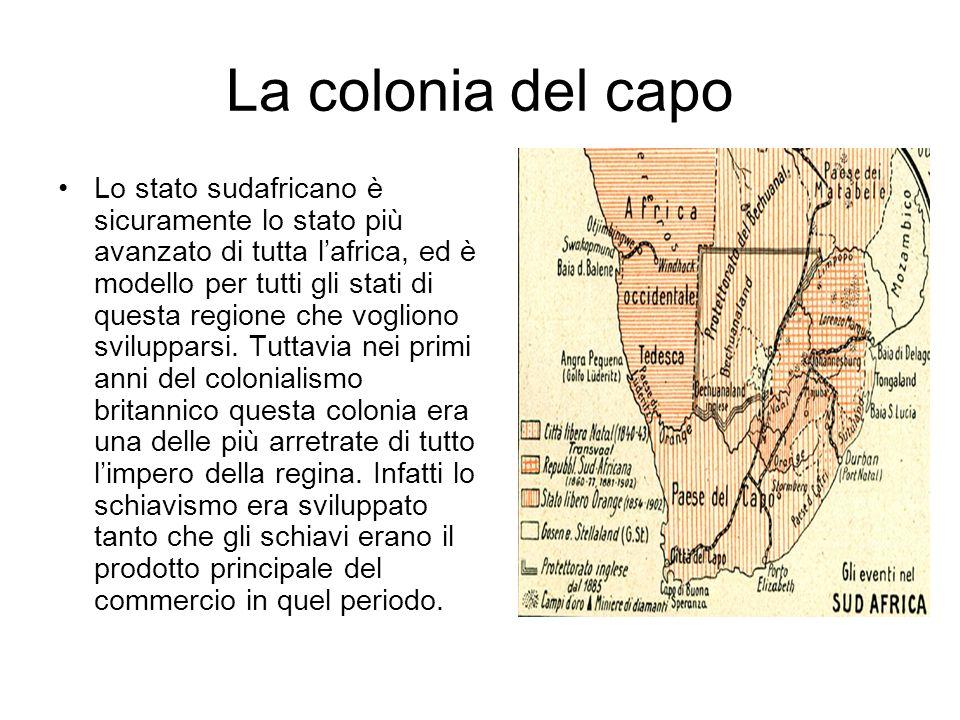 La colonia del capo Lo stato sudafricano è sicuramente lo stato più avanzato di tutta lafrica, ed è modello per tutti gli stati di questa regione che