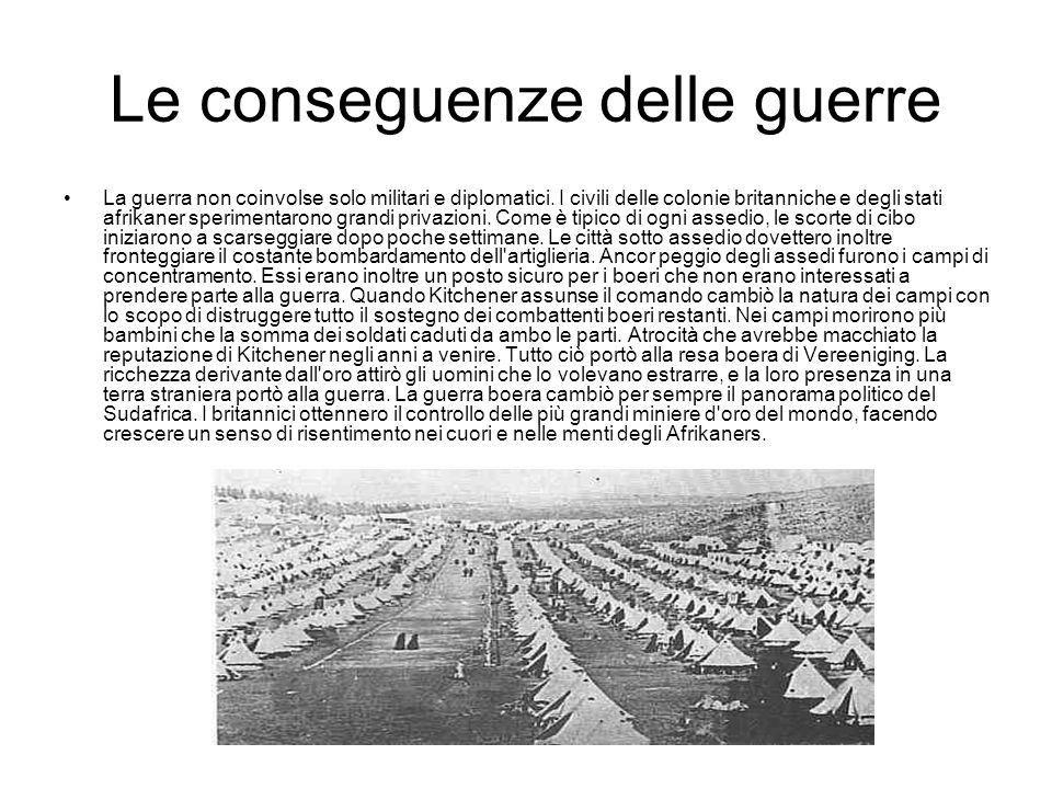 Le conseguenze delle guerre La guerra non coinvolse solo militari e diplomatici. I civili delle colonie britanniche e degli stati afrikaner sperimenta
