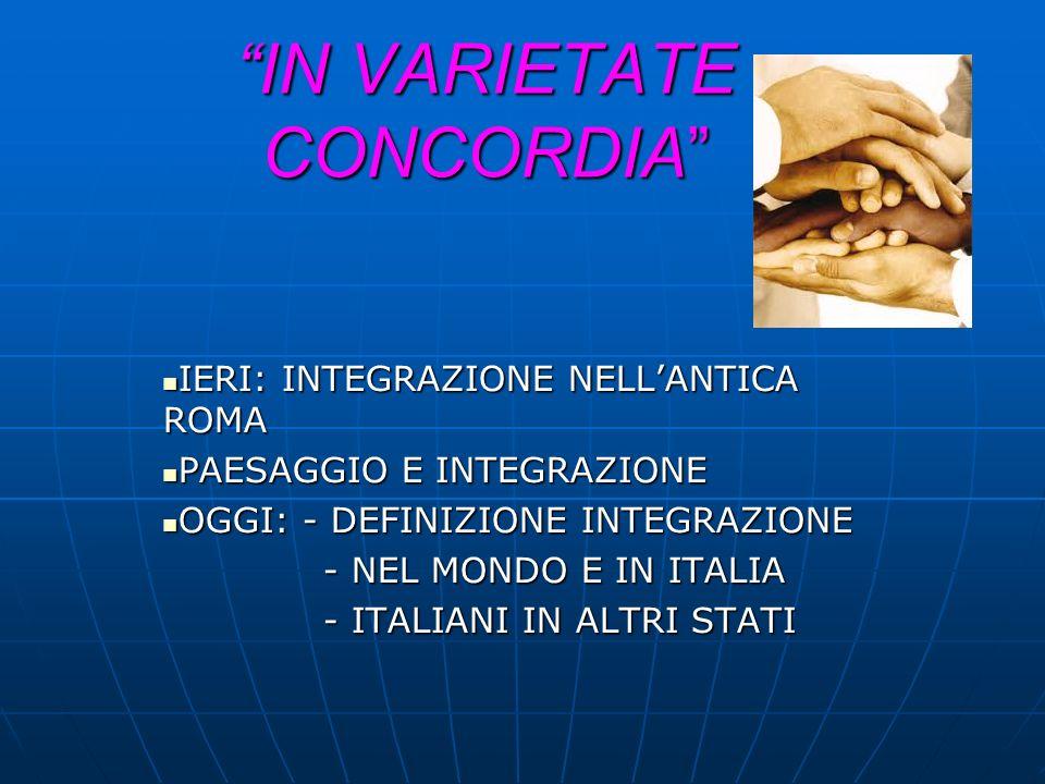 IN VARIETATE CONCORDIA IERI: INTEGRAZIONE NELLANTICA ROMA IERI: INTEGRAZIONE NELLANTICA ROMA PAESAGGIO E INTEGRAZIONE PAESAGGIO E INTEGRAZIONE OGGI: -