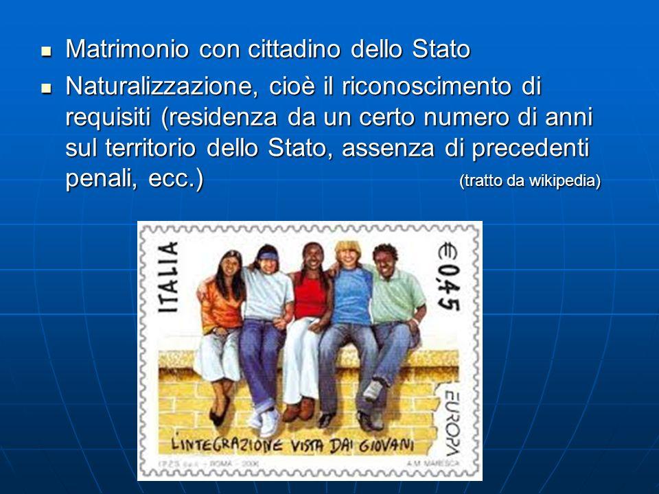 Matrimonio con cittadino dello Stato Matrimonio con cittadino dello Stato Naturalizzazione, cioè il riconoscimento di requisiti (residenza da un certo