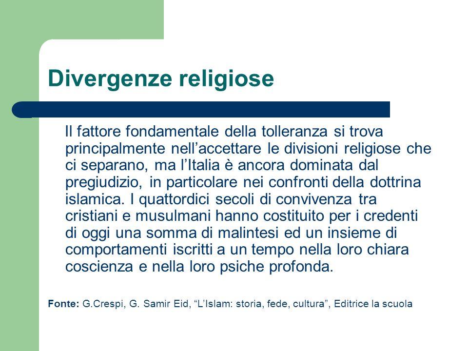 Divergenze religiose Il fattore fondamentale della tolleranza si trova principalmente nellaccettare le divisioni religiose che ci separano, ma lItalia è ancora dominata dal pregiudizio, in particolare nei confronti della dottrina islamica.
