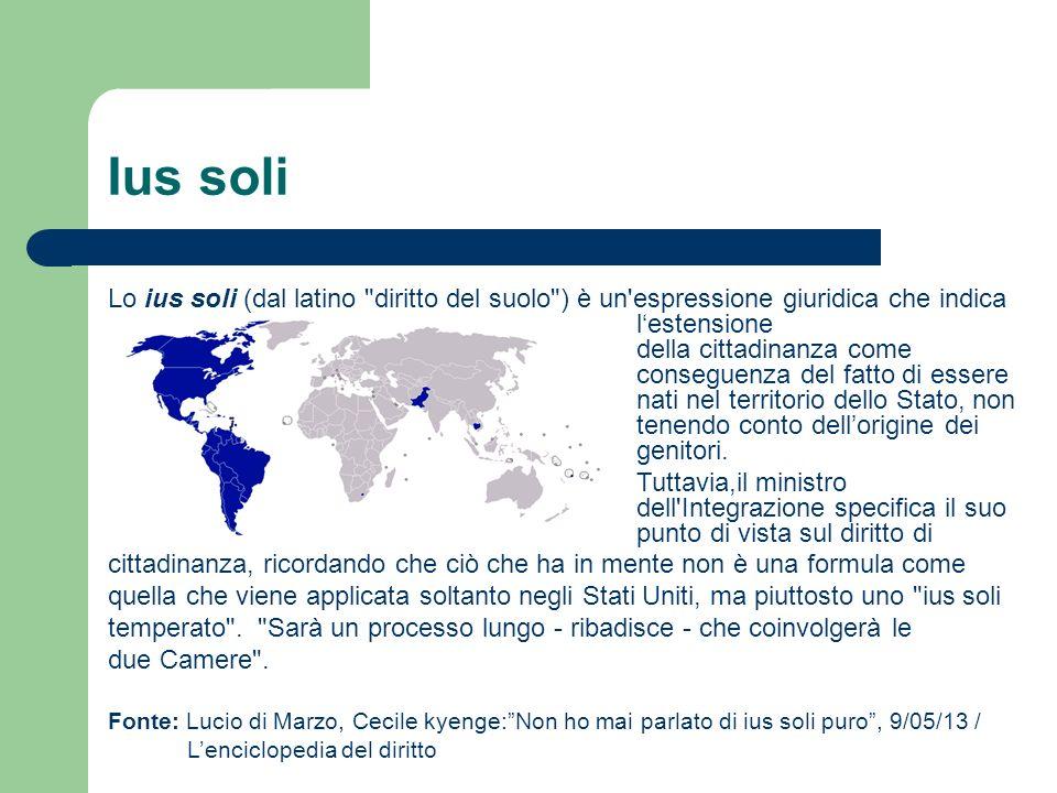 Ius soli Lo ius soli (dal latino diritto del suolo ) è un espressione giuridica che indica lestensione della cittadinanza come conseguenza del fatto di essere nati nel territorio dello Stato, non tenendo conto dellorigine dei genitori.