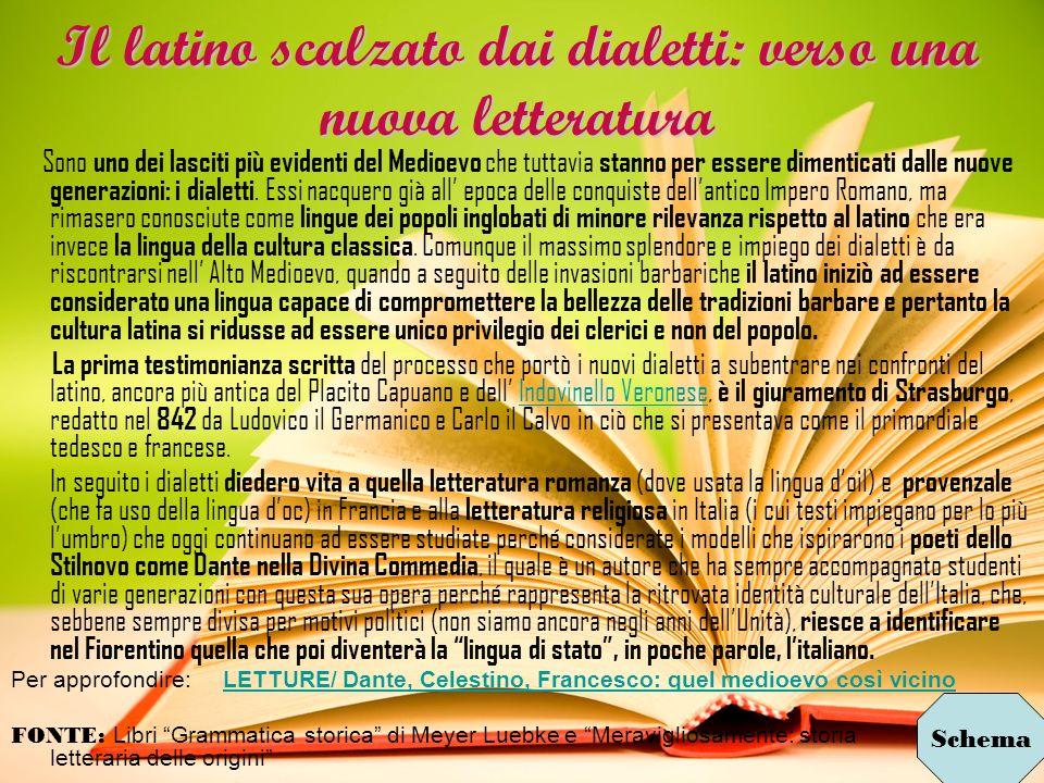 Il latino scalzato dai dialetti: verso una nuova letteratura Sono uno dei lasciti più evidenti del Medioevo che tuttavia stanno per essere dimenticati