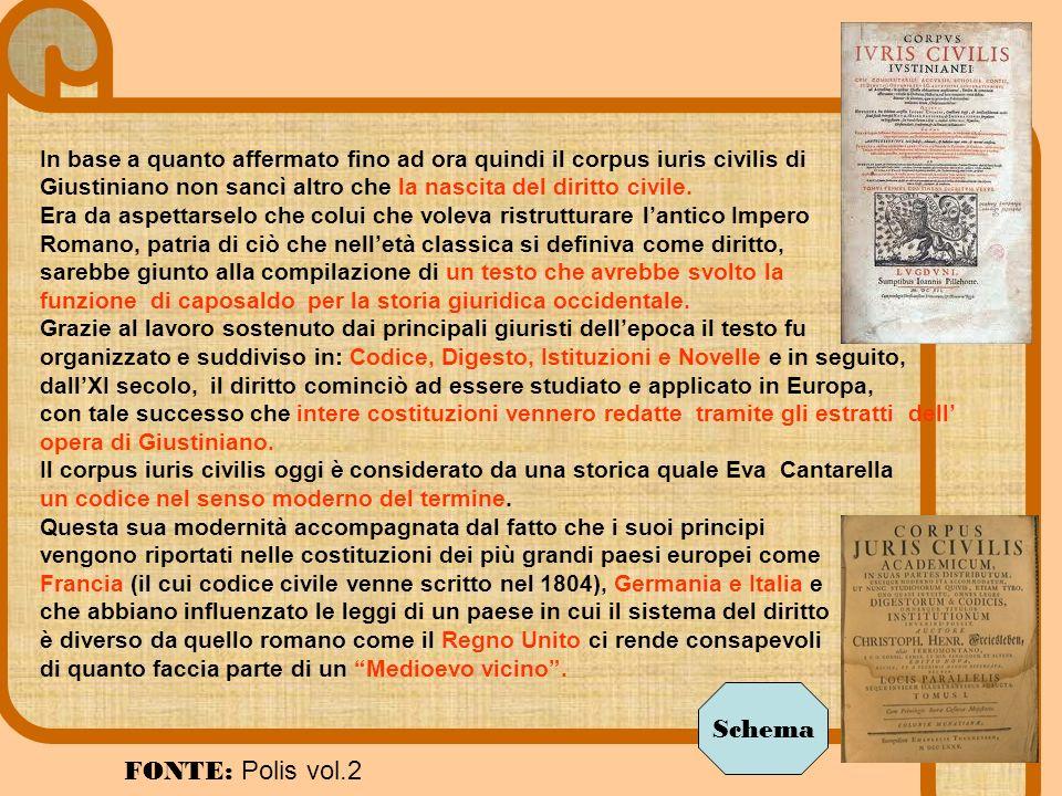 In base a quanto affermato fino ad ora quindi il corpus iuris civilis di Giustiniano non sancì altro che la nascita del diritto civile. Era da aspetta