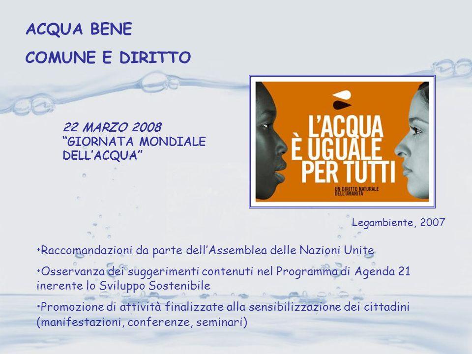 22 MARZO 2008 GIORNATA MONDIALE DELLACQUA Legambiente, 2007 Raccomandazioni da parte dellAssemblea delle Nazioni Unite Osservanza dei suggerimenti con