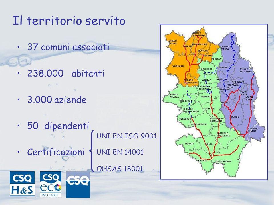 Il territorio servito 37 comuni associati 238.000 abitanti 3.000 aziende 50dipendenti Certificazioni UNI EN ISO 9001 UNI EN 14001 OHSAS 18001