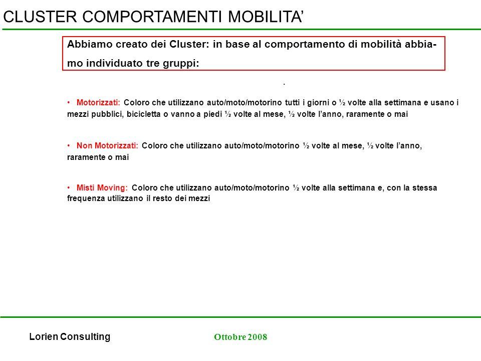 Lorien ConsultingOttobre 2008 CLUSTER COMPORTAMENTI MOBILITA.