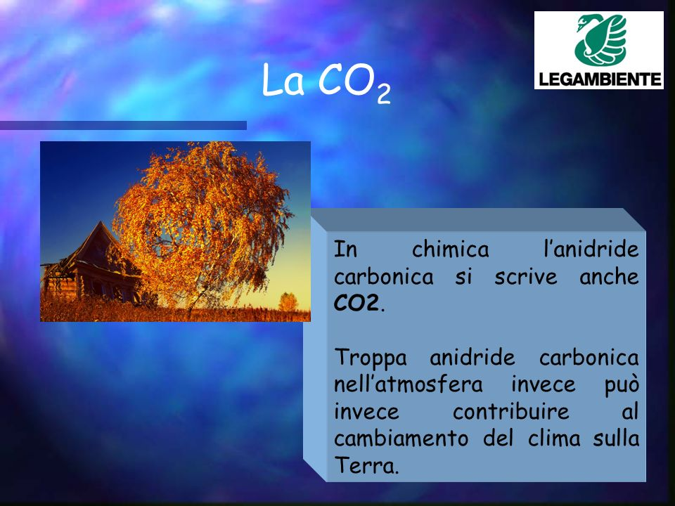La CO 2 In chimica lanidride carbonica si scrive anche CO2.