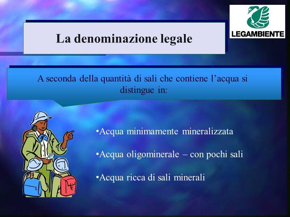 A seconda della quantità di sali che contiene lacqua si distingue in: A seconda della quantità di sali che contiene lacqua si distingue in: Acqua minimamente mineralizzata Acqua oligominerale – con pochi sali Acqua ricca di sali minerali La denominazione legale