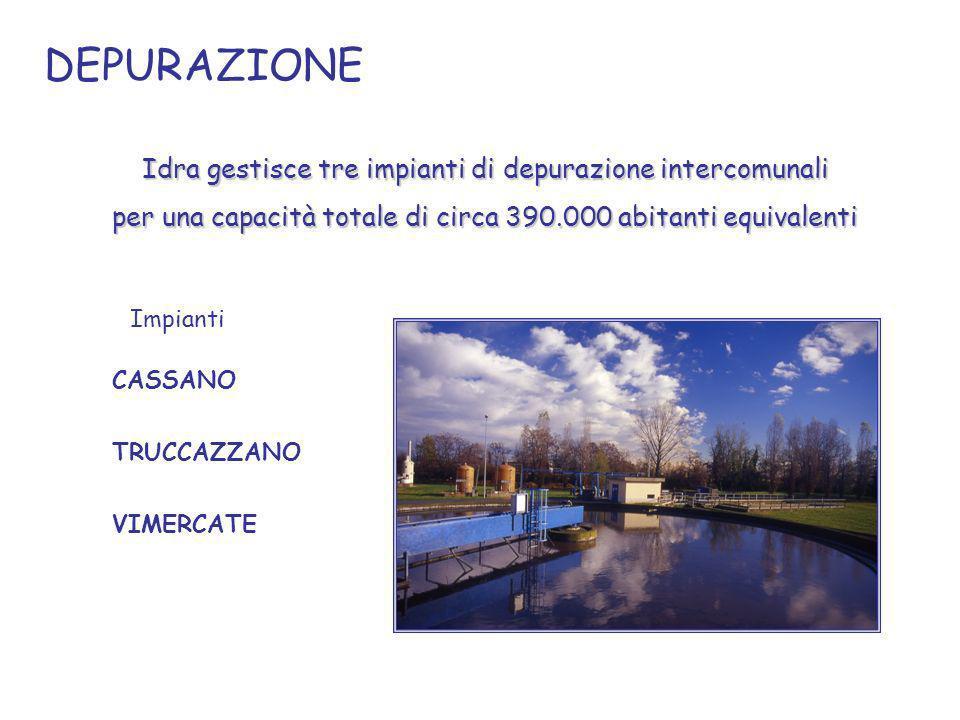 IMPIANTI 175.000 ab eq per 45.000 mc/giorno di acqua trattata 104.000 ab eq.