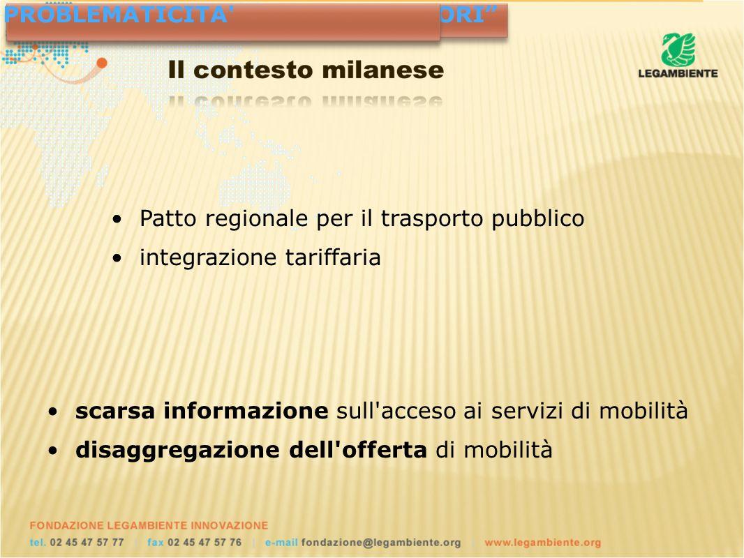 Patto regionale per il trasporto pubblico integrazione tariffaria NUOVE SCELTE POLITICHE FRUITORIPROBLEMATICITA scarsa informazione sull acceso ai servizi di mobilità disaggregazione dell offerta di mobilità