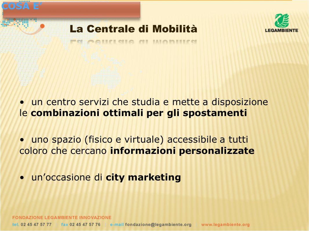 un centro servizi che studia e mette a disposizione le combinazioni ottimali per gli spostamenti uno spazio (fisico e virtuale) accessibile a tutti coloro che cercano informazioni personalizzate unoccasione di city marketing COSA E