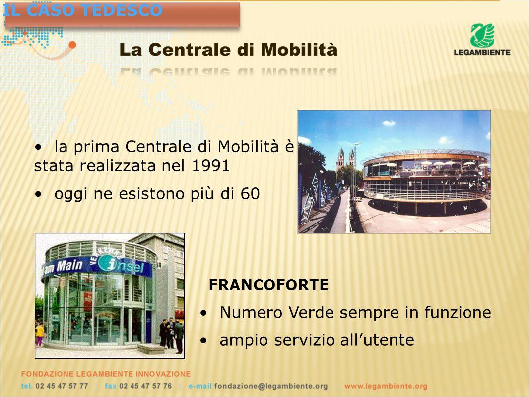 FRANCOFORTE Numero Verde sempre in funzione ampio servizio allutente IL CASO TEDESCO la prima Centrale di Mobilità è stata realizzata nel 1991 oggi ne esistono più di 60