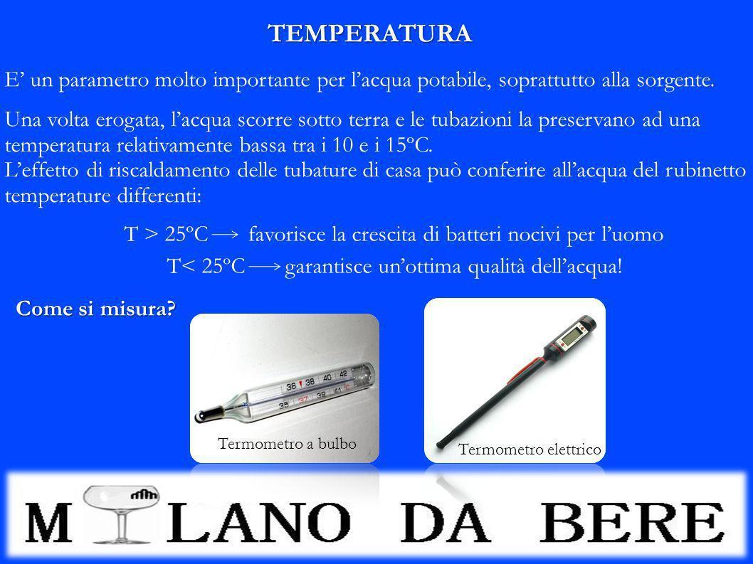 TEMPERATURA E un parametro molto importante per lacqua potabile, soprattutto alla sorgente. T > 25ºC favorisce la crescita di batteri nocivi per luomo