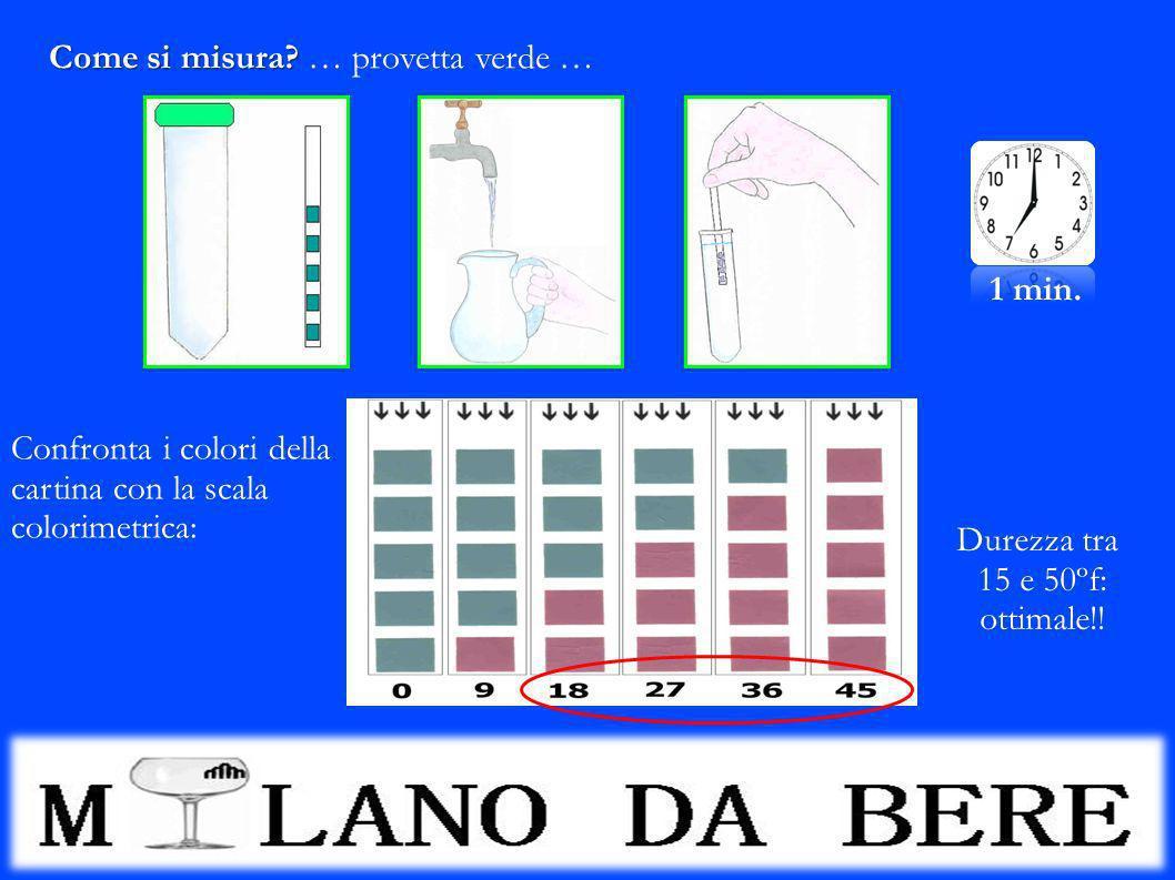 Come si misura? Come si misura? … provetta verde … 1 min. Confronta i colori della cartina con la scala colorimetrica: Durezza tra 15 e 50ºf: ottimale